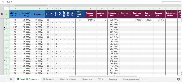 Расчёт ЗП в Google таблицах