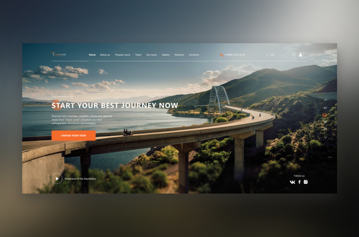 Landing page для туристической компании Travel World