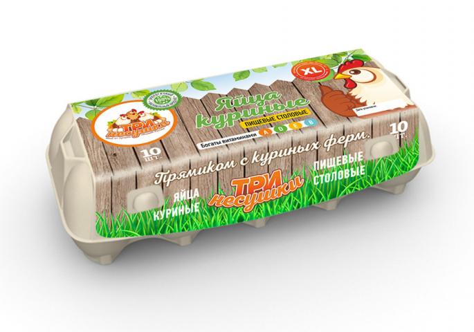 Дизайн упаковки для Яиц Три Несушки