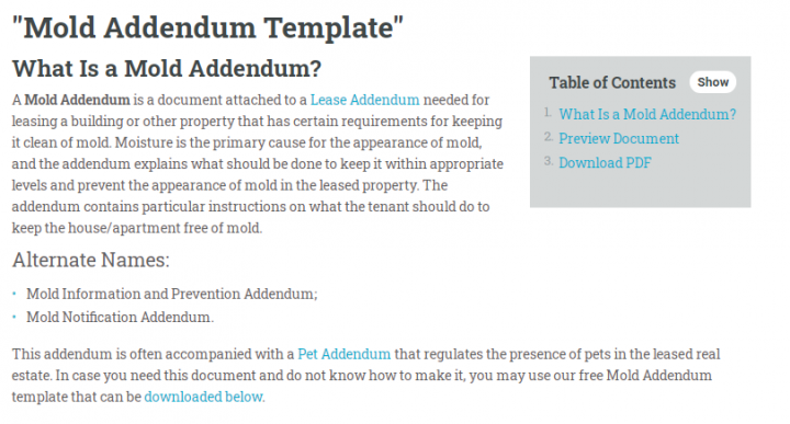 What Is a Mold Addendum?