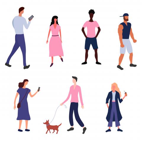 Иллюстрация людей в трендовом стиле
