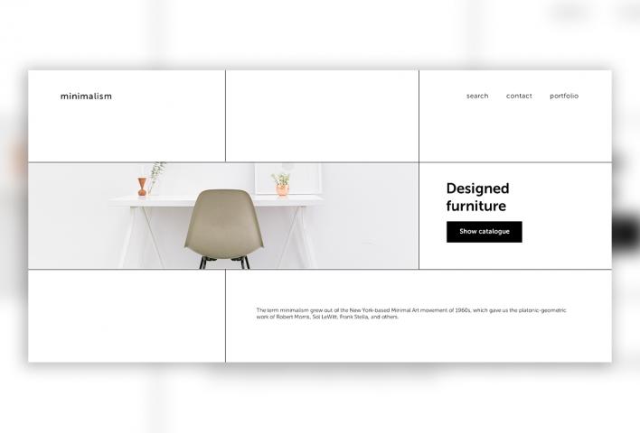 Одностраничный сайт для фирмы минималистичной мебели