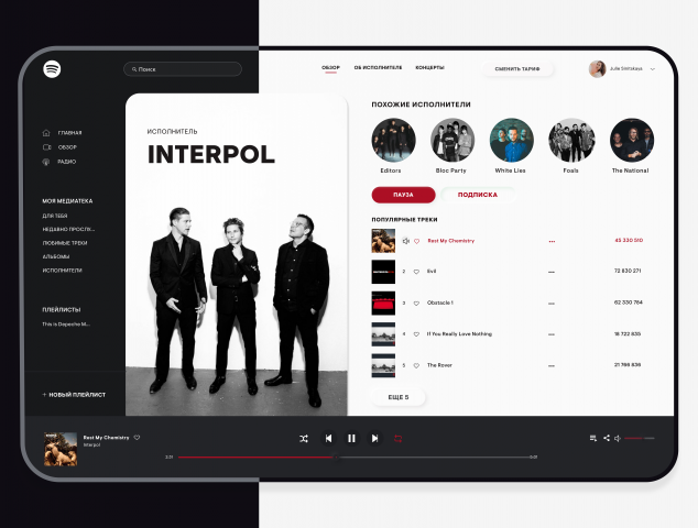 Spotify. Redesign