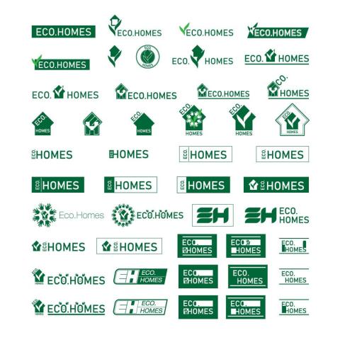 Набор 50 вариантов логотипа «Eco.Homes» (2020)
