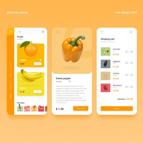 Концепт приложения для магазина здорового питания