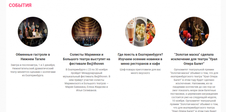 Публикация новостей о событиях в городе