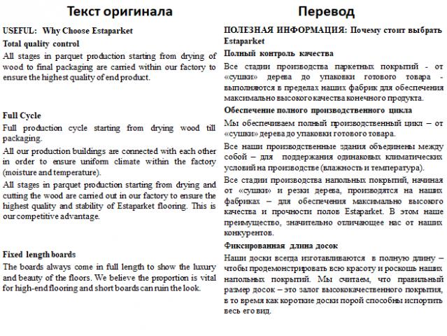 Перевод текста на маркетинговую/строительную тематику