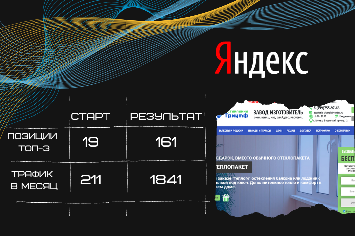 Продвижение сайта  osteklenie-triumph.ru
