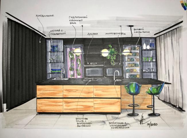 скетч кухни, проект 2020