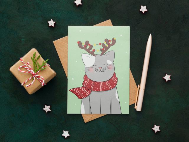 Иллюстрированная новогодняя открытка