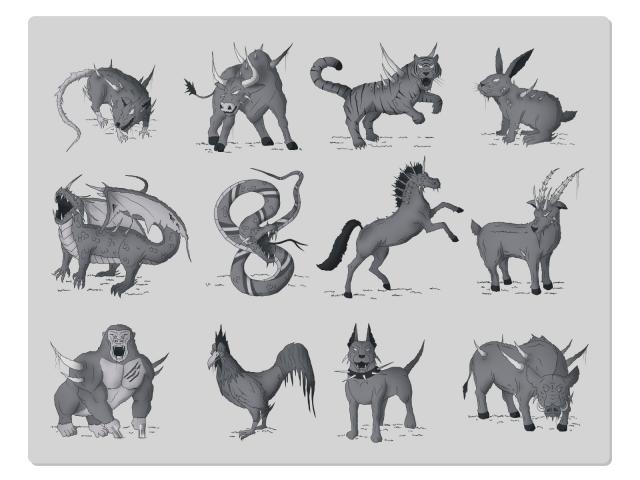 Животные для сайта kiberstudio.com. Китайский календарь.