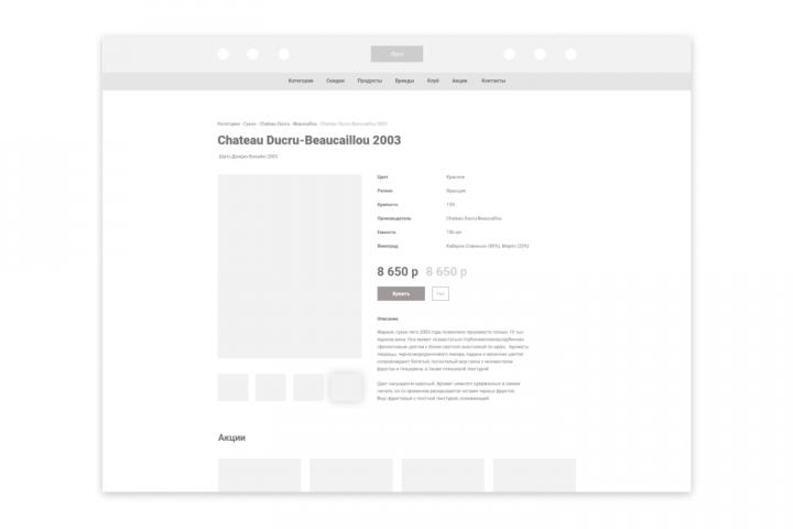 Прототип типовой страницы карточки товара