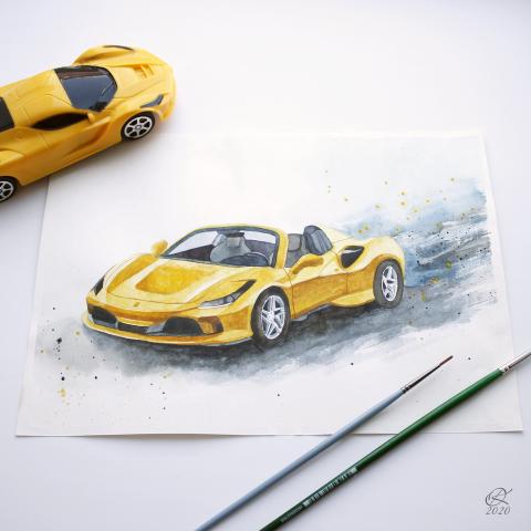 Ferrari акварелью