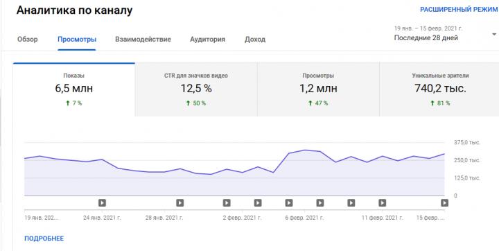 Результат работы на YouTube канала-партнера за последний месяц