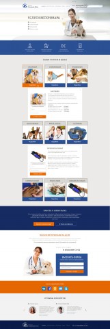 Дизайн Psd макета сайта Услуги ветеринара
