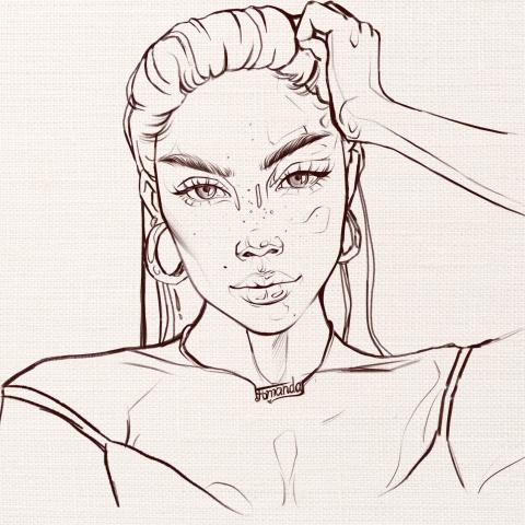 Скетчевый женский портрет