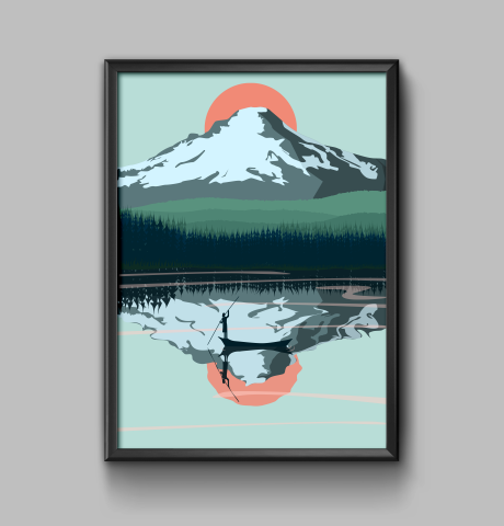 Vector poster. Landscape of mountains.