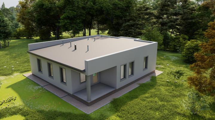 Проектирование частного одноэтажного дома с плоской кровлей
