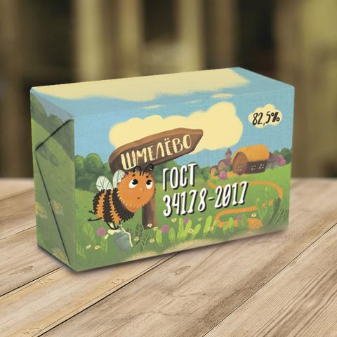 Дизайн упаковки масла с авторской иллюстрацией