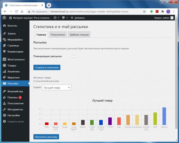 Плагин «Статистика и e-mail рассылки»