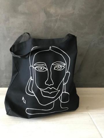 Создание и эскиза для AllaArt. Ручная роспись на хлопковой сумке