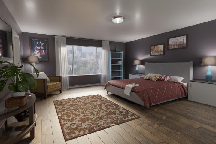 Визуализация комнаты с кроватью