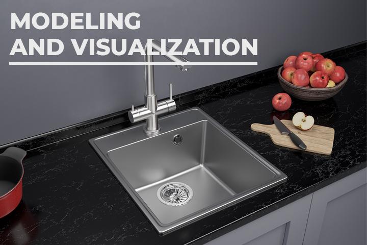Моделирование и визуализация кухонных моек в интерьере