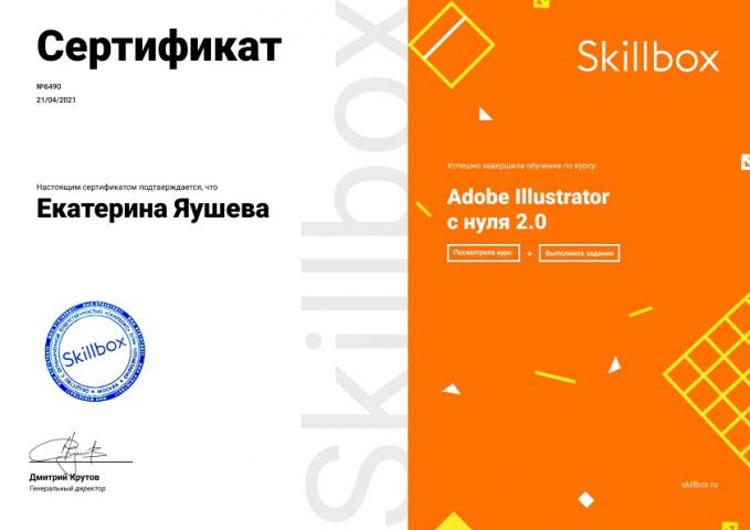 "Сертификат об окончании курса ""Adobe Illustrator"""
