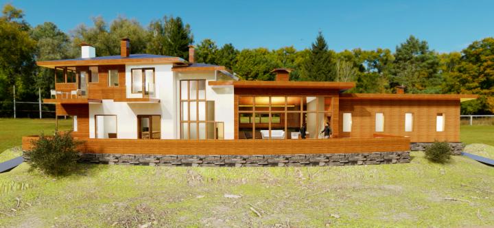 Дом на склоне 3D