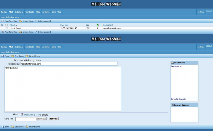Добавление к Web клиенту почты расшаривания файлов