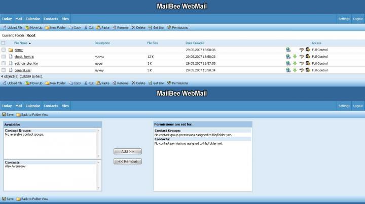 Добавление к Web клиенту почты файлов и каталогов