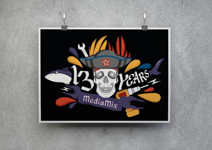 Плакат на 13 лет компании MediaMix